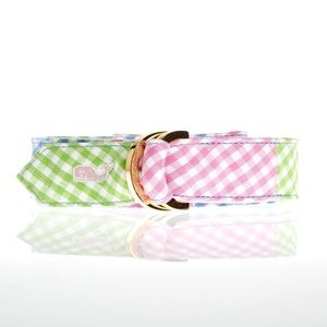 Vineyard Vines Gingham patchwork D-ring belt